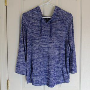 GAP Blue Space Dye Hooded Knit Pullover Size M